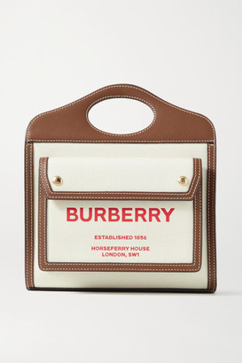 Burberry Mini Leather-trimmed Printed Canvas Tote - Ecru