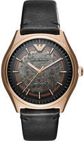 Emporio Armani AR60004 skeleton stainless steel rose gold-plated automatic leather strap watch