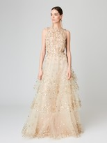 Oscar de la Renta Lamé and Sequin Embroidered Tulle Gown