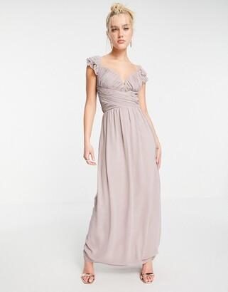 Little Mistress embellished flutter sleeve twist waist maxi dress in oyster grey