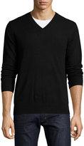 Neiman Marcus Cashmere V-Neck Pullover Sweater, Black