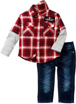 7 For All Mankind Twofer Flannel & Jean 2-Piece Set (Baby Boys)
