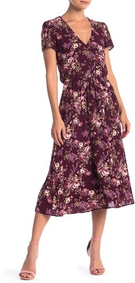 WAYF Short Sleeve Floral Print Midi Dress