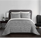Natalya Stitched Wave Pattern With Ruffled Details Twin Quilt - Grey
