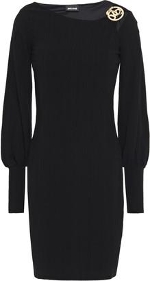 Just Cavalli Buckle-embellished Cutout Crepe-jersey Mini Dress