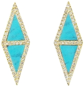 Jennifer Meyer Double Turquoise & Diamond Triangle Stud Earrings