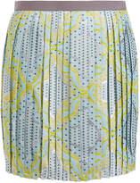 Raoul Yellow Jacquard Print Silk-Blend Pleated Mini Skirt
