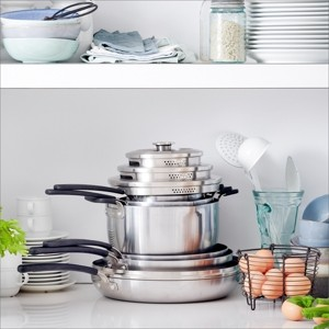 Green Pan Levels 11-Pc. Stainless Steel Stackable Ceramic Nonstick Cookware Set, Created for Macy's