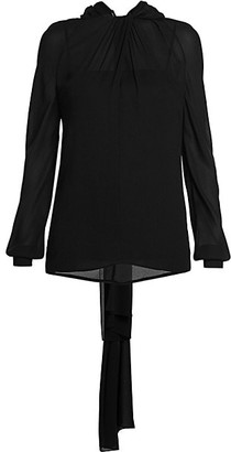 Prada Gathered Neck Silk Back-Tie Blouse