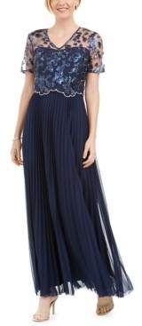 Tahari ASL Embellished Floral-Overlay Gown