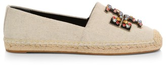 Tory Burch Ines Embellished Leather & Linen Espadrilles