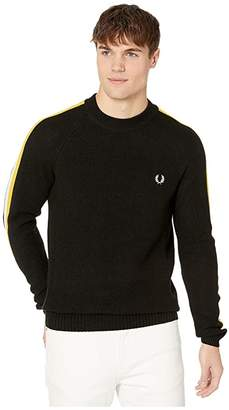 Fred Perry Broken Tipped Overarm Crew Neck Jumper (Black) Men's Clothing