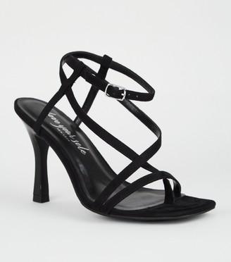 New Look Suedette Strappy Slim Flared Heels