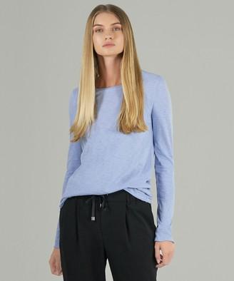 Atm Pima Cotton Splatter Print Long Sleeve Tee - Sky Blue Combo