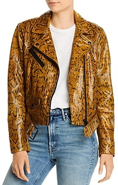 Notes du Nord Mercy Snakeskin-Embossed Leather Jacket