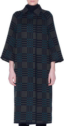 Akris Check-Embroidered Long Coat