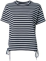 Sacai striped lace-up T-shirt - women - Cotton - 1