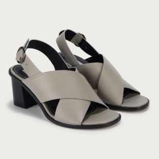 The White Company Crossover Strap Heel Sandals, Grey, 36