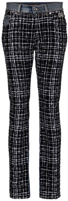 Dolce & Gabbana Mid-rise tweed-trimmed jeans