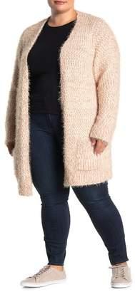Chelsea & Theodore Eyelash Knit Open Front Cardigan (Plus Size)