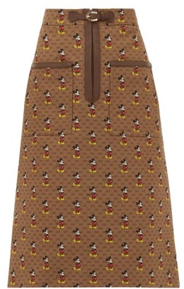 Gucci Mickey Mouse Twill Pencil Skirt - Womens - Brown