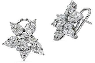 Zydo Mosaic 18K White Gold Diamond Flower Earrings