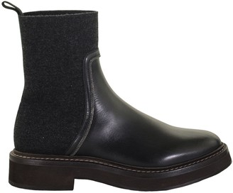 Brunello Cucinelli Matte Calfskin And Cashmere Knit Boots With Shiny Contour