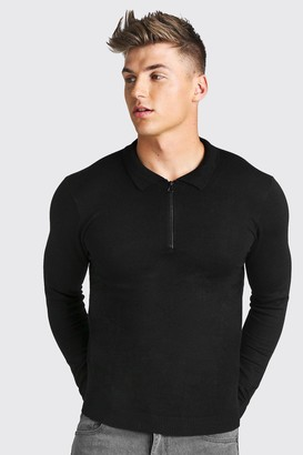 boohoo Mens Black Long Sleeve Knitted Zip Collar Polo, Black