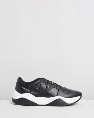 Armani Exchange Embossed Lace-Up Sneakers