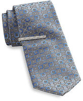 Gold Series Square Geometric Silk Tie with Tie Bar Casual Male XL Big & Tall