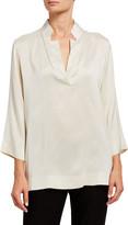 Eileen Fisher Silk Doupioni Notched-Collar Bracelet Sleeve Blouse