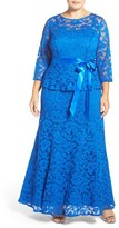 Chetta B Plus Size Women's 'Magic' Mock Two-Piece Lace Peplum Gown