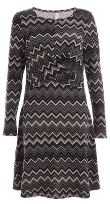 Dorothy Perkins Womens Quiz Black And Grey Front Knot Detail Skater Dress