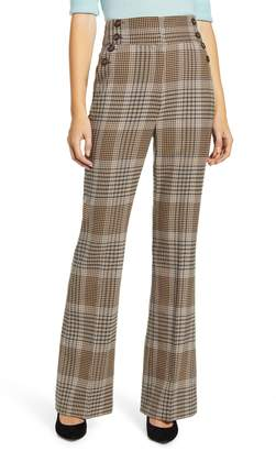 Halogen x Atlantic-Pacific Button Detail Plaid Flare Pants
