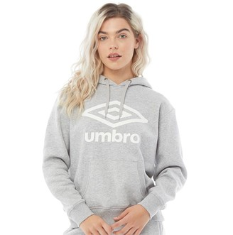 Umbro Womens Active Style Large Logo Hoodie Grey Marl/White