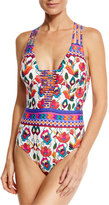 Nanette Lepore Antigua Goddess Strappy One-Piece Swimsuit, Multicolor