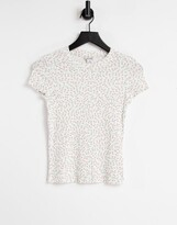 Thumbnail for your product : Monki Magdalena organic cotton floral print shrunken t-shirt in off white
