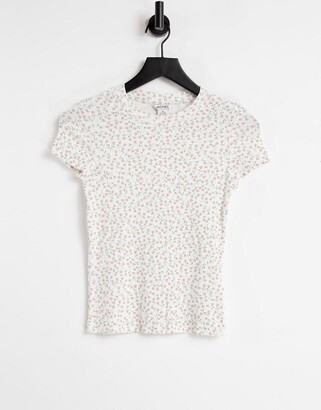 Monki Magdalena organic cotton floral print shrunken t-shirt in off white