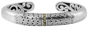 Devata Bali Heritage Signature Cuff Bracelet in Sterling Silver and 18k Yellow Gold Accents