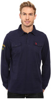 U.S. Polo Assn. Long Sleeve Heavy Sueded Jersey Enzyme Garment Washed Polo Shirt