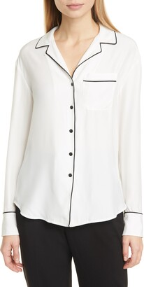 Rag & Bone Luca Long Sleeve Silk Charmeuse PJ Top