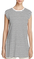 Eileen Fisher Striped Organic Linen Round Neck Tunic
