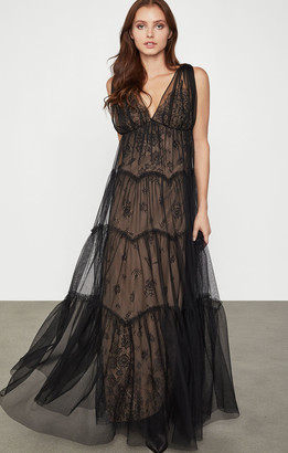 BCBGMAXAZRIA Lace Tulle Gown