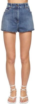 Valentino Back Go Logo Denim Shorts