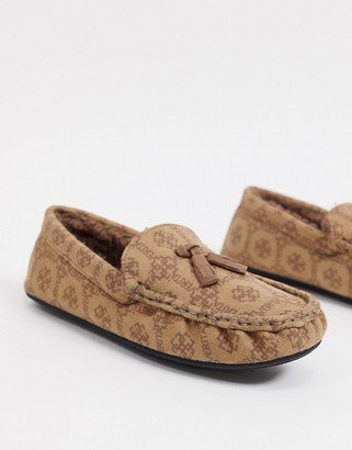 ASOS DESIGN moccasin slippers in faux suede with monogram print
