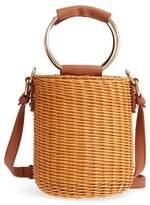 MALIBU SKYE Metal Handle Straw Bucket Bag