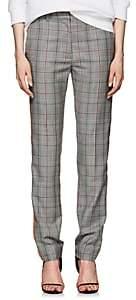 Calvin Klein Women's Glen Plaid Wool Slim Trousers-Black White Grenadine