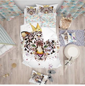 Designart 'Leopard Head With Golden Crown' Tropical Duvet Cover Set - Queen Bedding