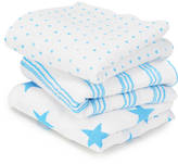 Nubie Modern Kids Boutique Bright Blue Pack Of Three Muslin Squares