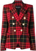 Balmain Cropped tartan blazer - women - Cotton/Viscose/Wool - 34